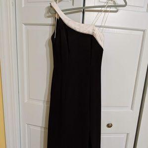 Dresses & Skirts - One shoulder crystal rhinestone black&white gown